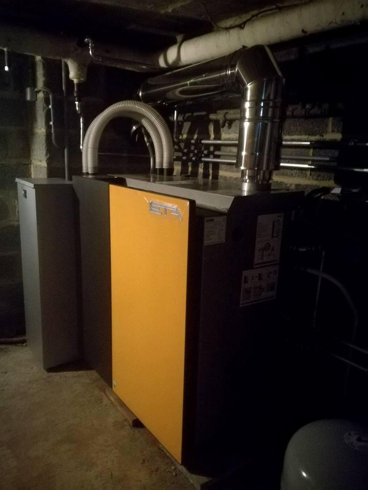 Installation chaudiere pellets eta unit 15 kW Naast